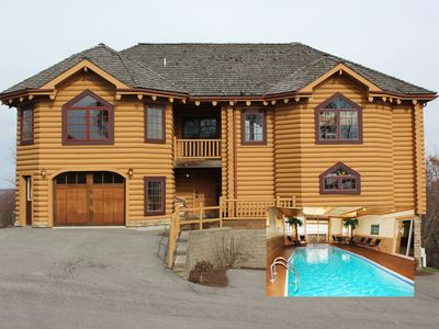 Majestic 8 BR Log Chateau - Ski in/Out - Indoor Pool/Sauna - Theater - Boat Slip