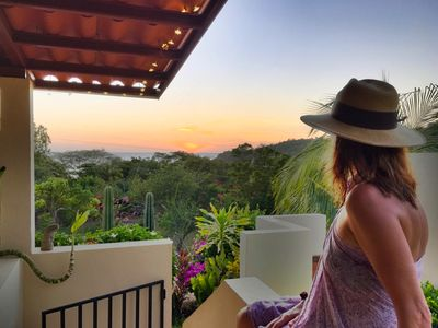 Villa Pavela, breathtaking view from terrace at sunset towards Playa Remanso