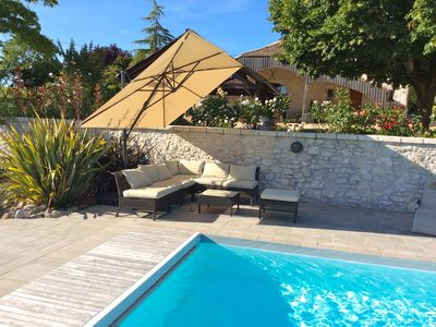 Photo for Near Monbazillac charming cottage park 3ha dovecote heated pool barn