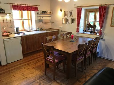 Kitchen with a large dining table