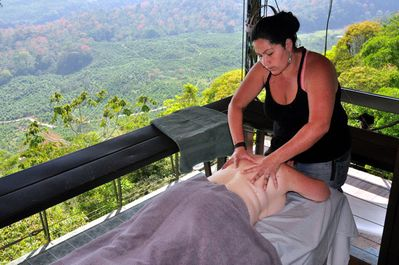 Every bedroom has a private balcony, big enough for your massage. Masseuse available afternoons and early evenings.