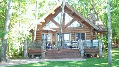 Lakeside view of cabin