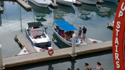 Water taxi's can be hailed from the balcony and are steps away