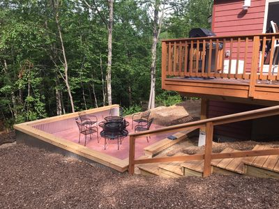 Two levels of outdoor living - Patio w/ fire pit & upper deck w/ grill and table