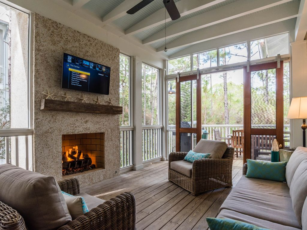 screened in porch with fireplace. Watercolor House Rental - Screened Porch With Fireplace And Sitting Area In T