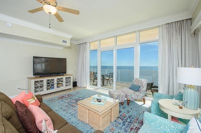 """Great views from living area and large 65"""" curved screen Samsung. Sleeper sofa"""
