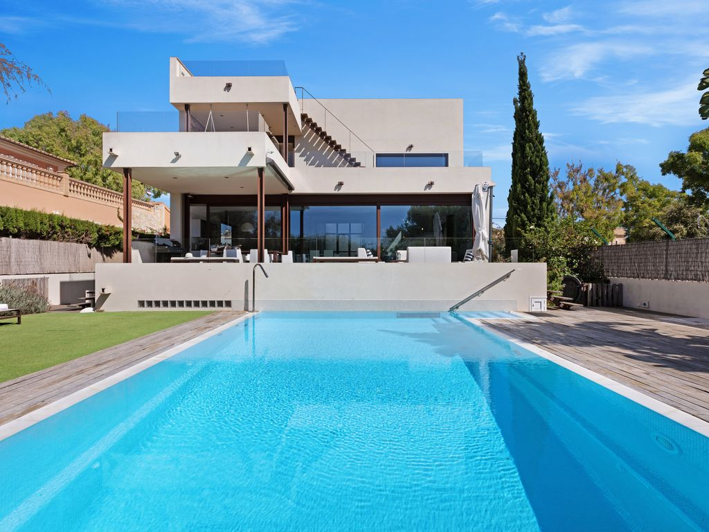 Minimalist villa BBQ Beach of Palma Mallorca heated pool
