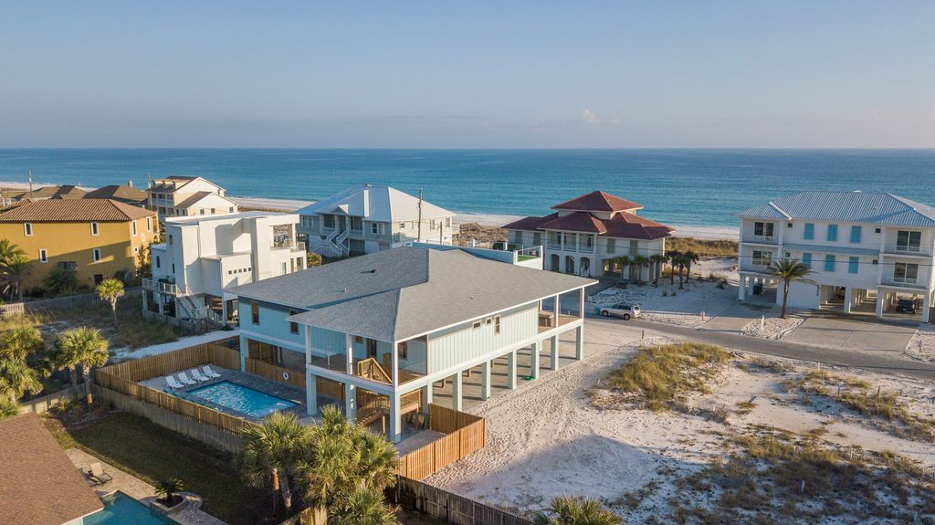 Pensacola beach house rental aerial view facing southeast