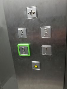 """Elevator: Push """"2"""" to go to the THIRD floor."""