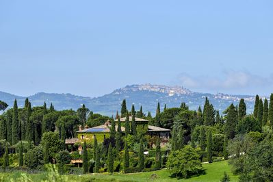 The villa with Montepulciano in the background