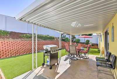 Barbeque in the backyard of this Oceanside home after a day at the beach.