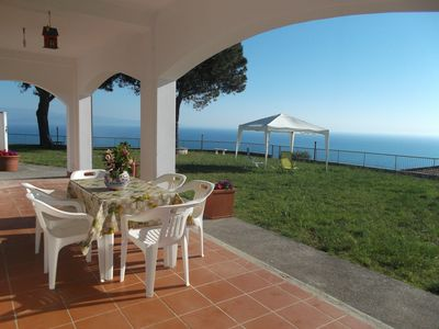 Photo for Villa with free WiFi, wide garden and striking view of the Stromboli Volcano