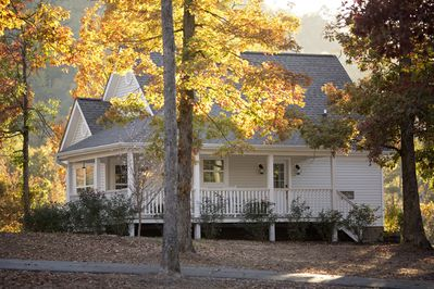The White Farmhouse Cottage in fall