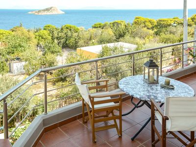 Photo for Seaview villa-2nd floor apt.-sea 180 m away-Athens 40 km away.AMA 1803.
