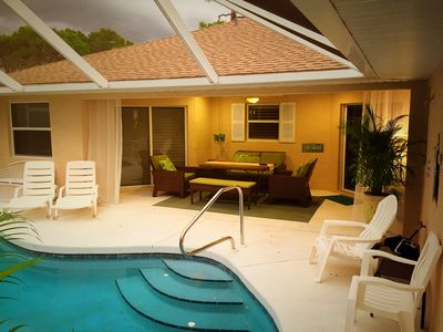 Covered lanai poolside for dining or just relaxing