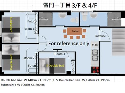 Photo for Kaminarimon 4/F 3 bedrooms, 5 beds, 2 to
