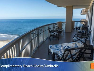 Photo for Includes Complimentary Beach Umbrella and Chairs! Balcony Access from Every Bedroom!