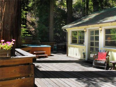 Photo for EASY DAYS: Sweet Guerneville Cabin | Sunny Deck | Hot Tub | Fireplace