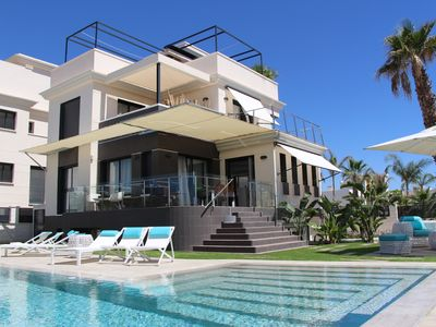 Photo for Modern luxury villa with provision of individual salt water pool.