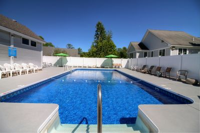 The heated condo complex pool is open from June to mid-September.