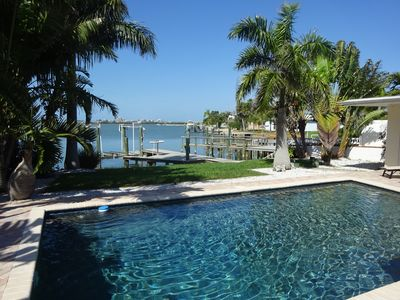 Photo for Pet Friendly Waterfront With Dock, 3/Br Home W/pool, Sleeps 8, 4 Blk To Beach