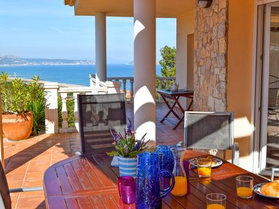 Photo for Detached villa with splendid sea view, 500 m. from the beach, Wifi, pool