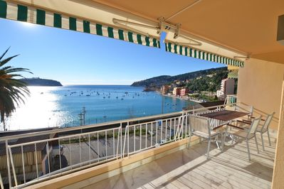 Stunning view from our spacious balcony over the beautiful bay to Villefranche
