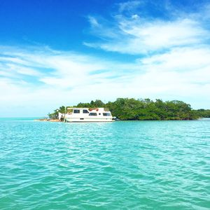 Houseboat docked at Private Island, Quiet Cove Key