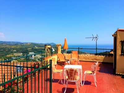 Photo for Costarainera typical Ligurian village between Sanremo and Imperia-terrace overlooking the sea WI-FI