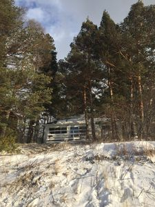 View of the beach house in winter - from the beach.