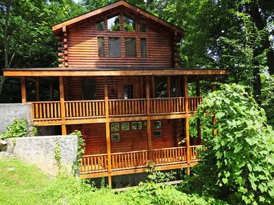 Photo for 1 Bedroom / 1.5 Bath Log Cabin With Mountain View, Hot Tub, Pool Table