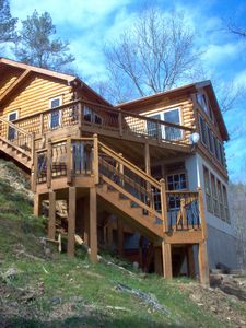 Photo for Summer opens 4-20-Luxury log home on river front,hiking,ATVroads, gated comm poo