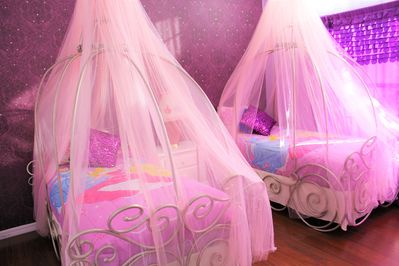 Princess Room with 2 Twin Carriage Canopy beds and 1 Princess toddler bed