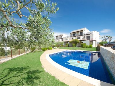Photo for Holiday home in front of the pool 450 meter from the beach with air conditioning