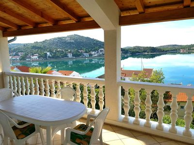 Photo for Sea view and seafront Villa Dolores in Tisno on the Dalmatian coast
