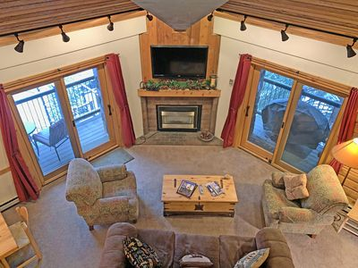 Looking down from the Loft at the TV & Fireplace.