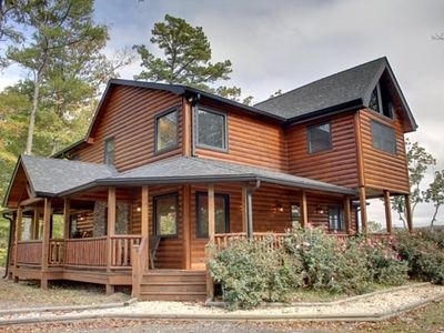 Photo for 3BR/3BA Western Themed Cabin, Mountain View, Hot Tub, Gas Grill, Wifi, Paved Roads, Pool Table, Wet