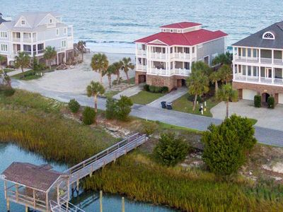 Big Kahuna - the name says it all.  7 bedrooms, Ocean and Creekfront, Dock, Pool Access, Gated Co...