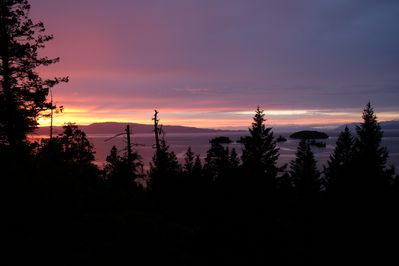 Sunset view from deck. The light show lasts till 11 pm in the summer!