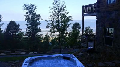 Hot tub in the morning above the clouds in the Sequatchie Valley.