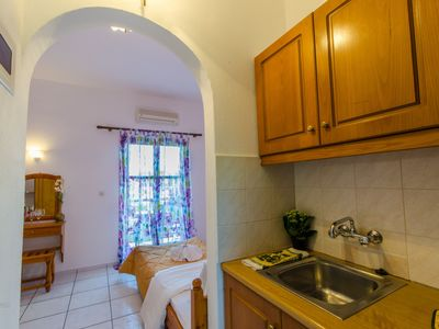 Photo for Maria N2 apartment in Skiathos with WiFi, air conditioning, shared garden & balcony.