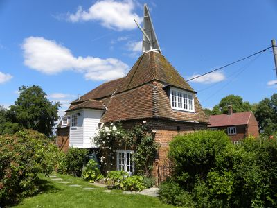 Stone Green Oast - the main bedroom opens onto the enclosed, pet friendly garden
