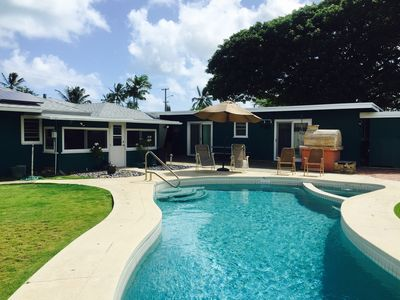Photo for Authentic Hawaiian home with pool, large yard & short walk to white sandy beach