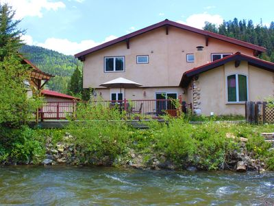 """Photo for 1 block to Ski-on the river-in town! """"The River Ritz"""" Luxury Riverfront, Fireplace, Large Deck"""