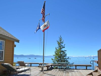 Photo for Tahoe lakefront cabin on a Sandy Beach with a Shared Pier - Dog Friendly