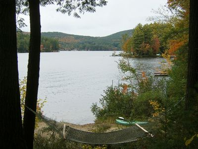Loon Lake beach front.  Ready to relax or swim or take a kayak for a paddle.