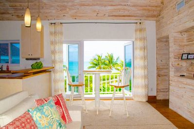 View from the living room area to the beach