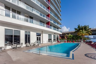 Infiniti Pool located right in front of the intracoastal waterway.