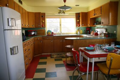 50's Vintage kitchen with view of aspens and river