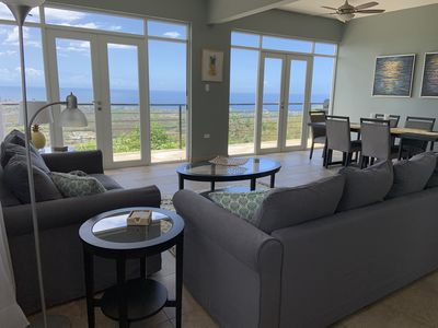 Living room with 180 degree view of the the Caribbean ocean
